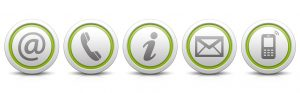 Contact Us Set of light gray buttons with reflection & light green